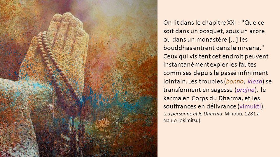 On lit dans le chapitre XXI : Que ce soit dans un bosquet, sous un arbre ou dans un monastère [...] les bouddhas entrent dans le nirvana. Ceux qui visitent cet endroit peuvent instantanément expier les fautes commises depuis le passé infiniment lointain. Les troubles (bonno, klesa) se transforment en sagesse (prajna), le karma en Corps du Dharma, et les souffrances en délivrance (vimukti).